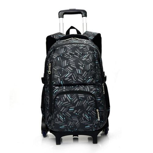 d11685c660cc Universal Children Removable Trolley Wheeled Backpack School Bag Climb  Stair With 3 Wheels Blue Stripes