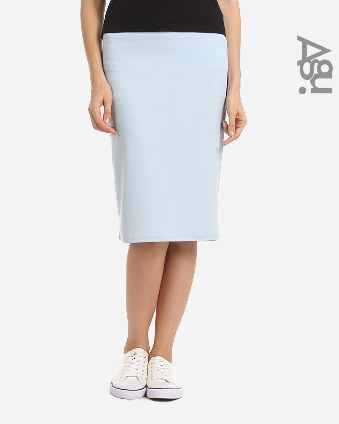 Agu Solid Pencil Mini Skirt - Light Steel Blue