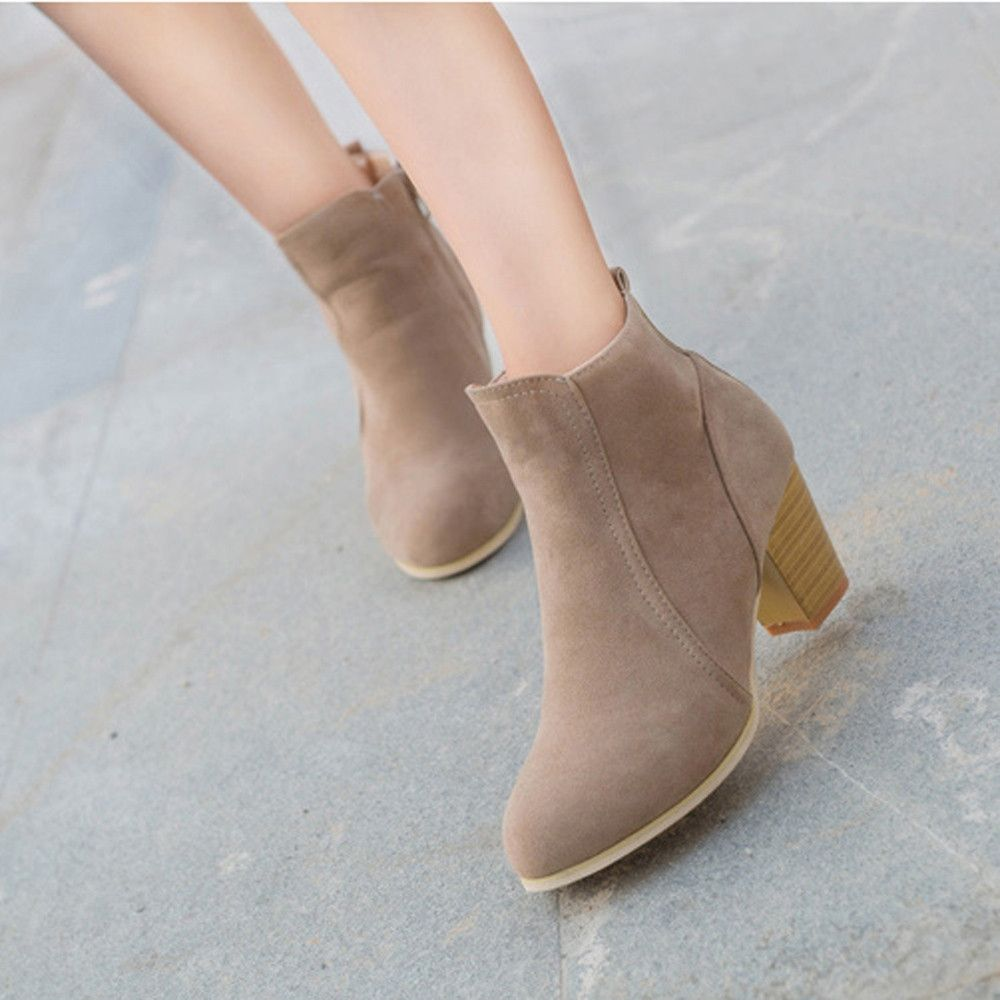 fd00691dd424ac Eissely Autumn Winter Boots With High Heels Boots Shoes Martin Boots Women  Ankle KH/35-Khaki 35