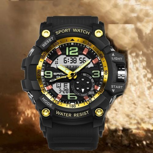 afc5c76fc McyKcy Fashion Watch Men Waterproof Sports Watches Shock Digital Electronic  GD- Gold