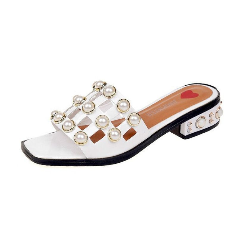 8d714ce439a1 Buy Fashion Summer Outside Thick Heel Women Slippers Sandals White in Egypt