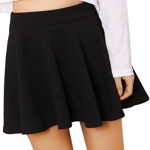 c24bfe20a Eissely Women Lady High Waist Plain Skater Flared Pleated Short Mini Skirt  Shorts Skirts- Black. updating Prices