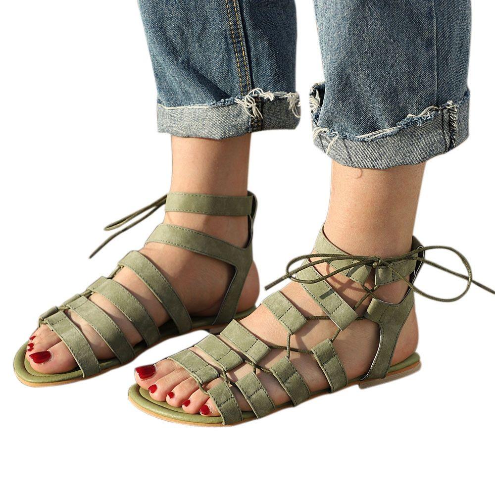 8543cc66ffb88 Buy Fashion Blicool Shoes Women Bohemia Sandals Gladiator Flat Peep-Toe  Sandals Shoes Roman Strap