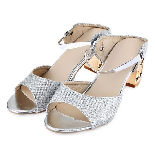 5f7b0f201e6f8 Fashion Women Color Block Open Toe Thick Heel Slippers - Silver ...