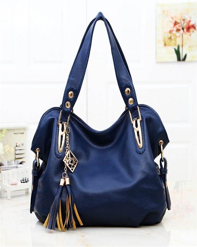 Neworldline Luxury Ladies Leather Shoulder Bag Satchel Cross Body Tote Handbag -Blue