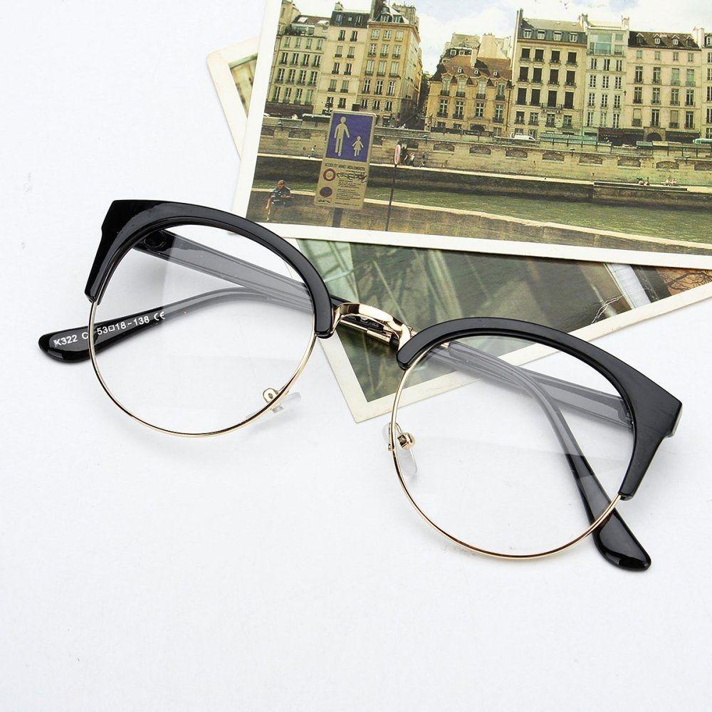 90507722faaf Fashion Retro Style Women Men Nerd Glasses Clear Lens Eyewear Round ...