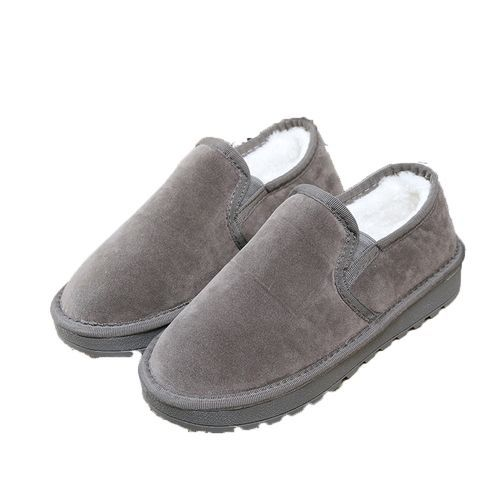eaccffc45403 Neworldline Fashion Women Boots Flat Ankle Fur Lined Winter Warm Snow Shoes  Lazy Shoes GY 35-Gray 35