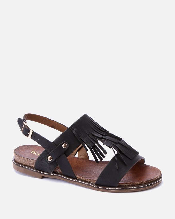 Spring Fringed Sandals - Black