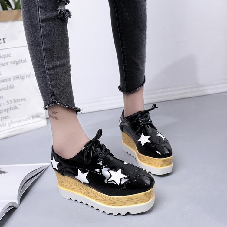 5cf44c8618a8 Fashion 2017 Women s Leather Platform Creepers Oxfords Wedge Sneakers Lace  Casual Shoes