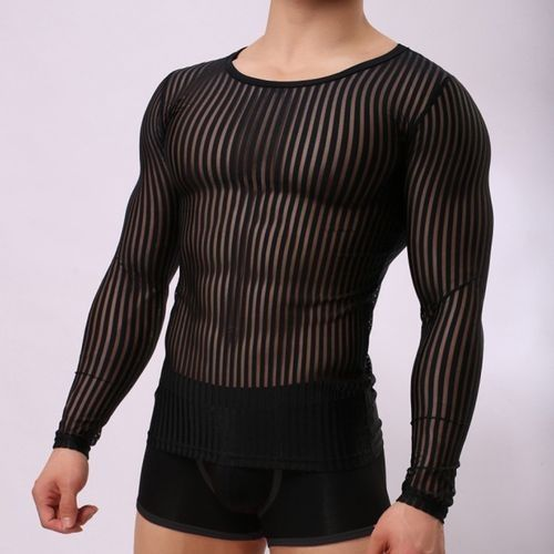 c70d1332385 Fashion Men Mesh Transparent Long Sleeve Tops Sexy Muscle Striped Crew Neck  T-shirt Tee. updating Prices