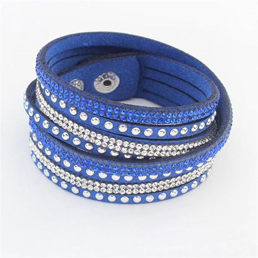Neworldline College Wind Fashion Rhinestone Diamond Bracelet Multi-Independence-Blue