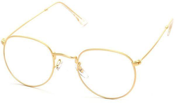 3926c5a0c Generic نظارات نظر ريترو عصرية بتصميم كلاسيكي وعدسات شفافة مع اطار معدني لون  ذهبي