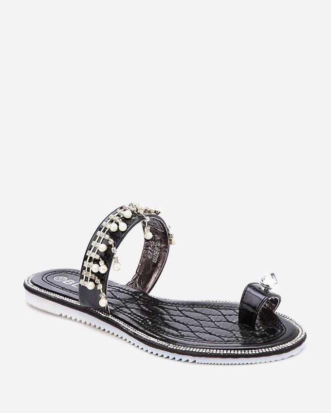 Spring Toe Thong Slipper - Black