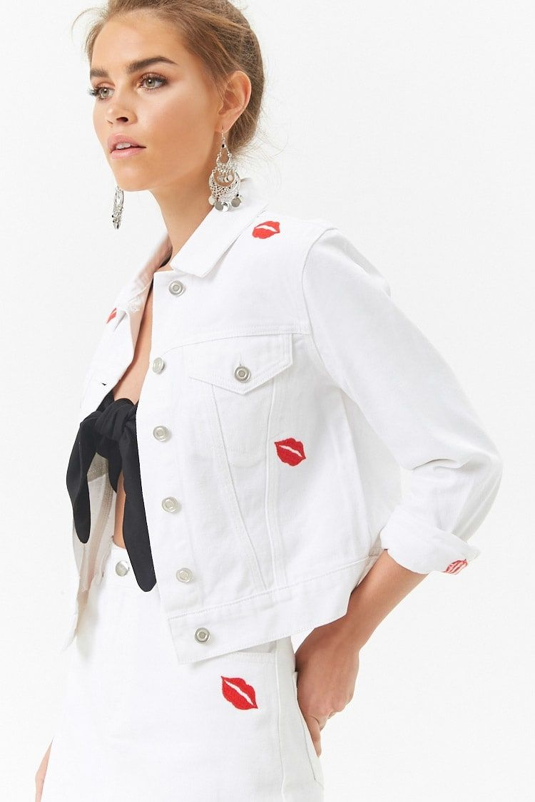 66992d9497 Buy Forever21 Kiss Embroidered Denim Jacket in Egypt