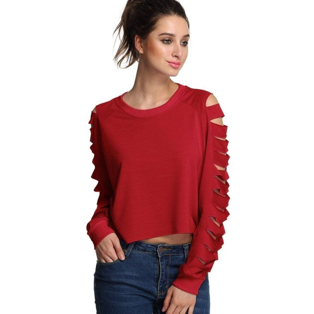 52ff3823e81 Sunweb Finejo Stylish Ladies Casual Long Hollow Sleeve Irregular Top ...