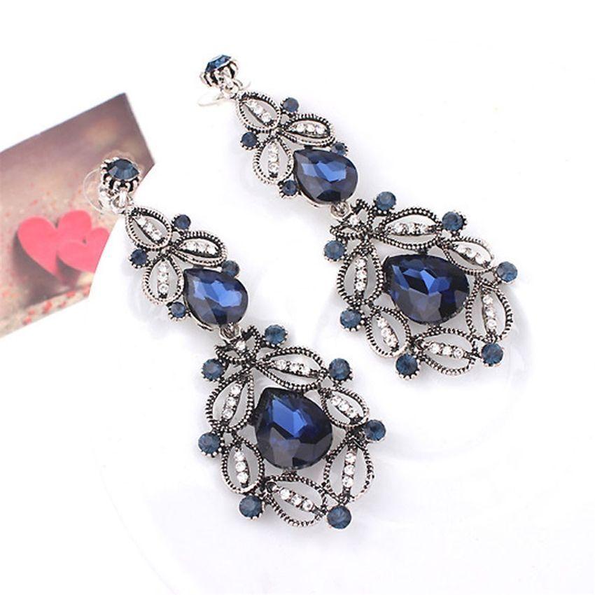 Neworldline Fashion Women Elegant Crystal Rhinestone Ear Stud Dangle Earrings BU-Blue