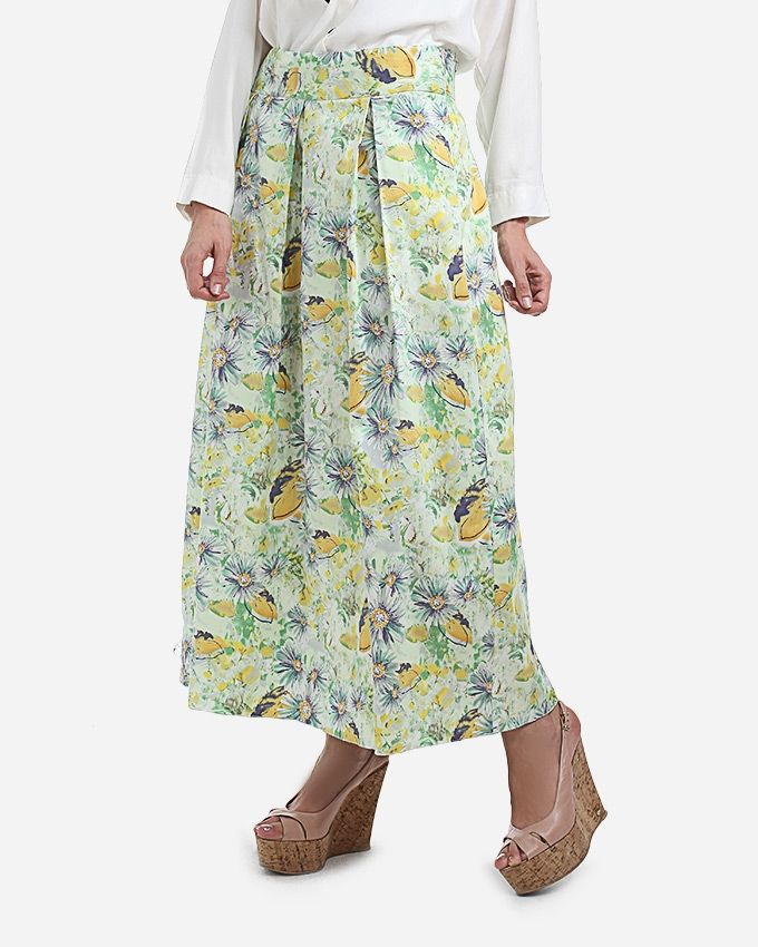 Femina Floral Midi Skirt - Yellow & Green