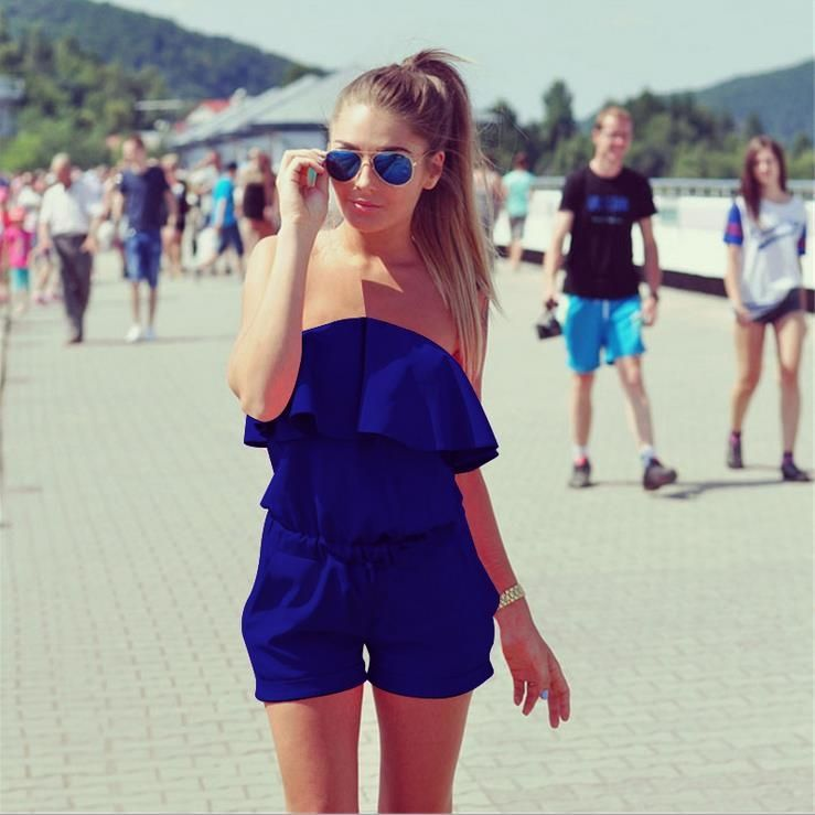 Fashion Womens Casual Off The Shoulder Tee Wide Leg Shorts Jumpsuit