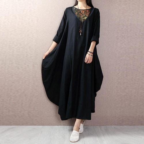00af81eacd ZANZEA ZANZEA Lady Vintage Vestido Long Sleeve Round Neck Floral Printed  Patchwork Kaftan Ethnic Style Baggy Loose Maxi Dress Plus Size Black