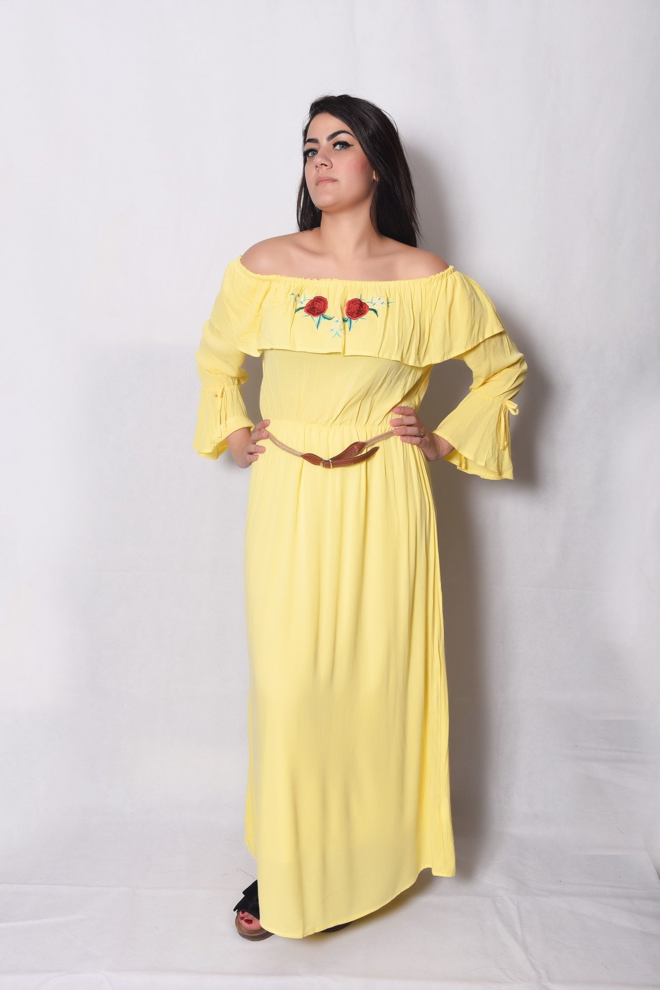 a4d1df99eee9 Buy Coctail Off Shoulder Embroidered Maxi Dress -Yellow in Egypt