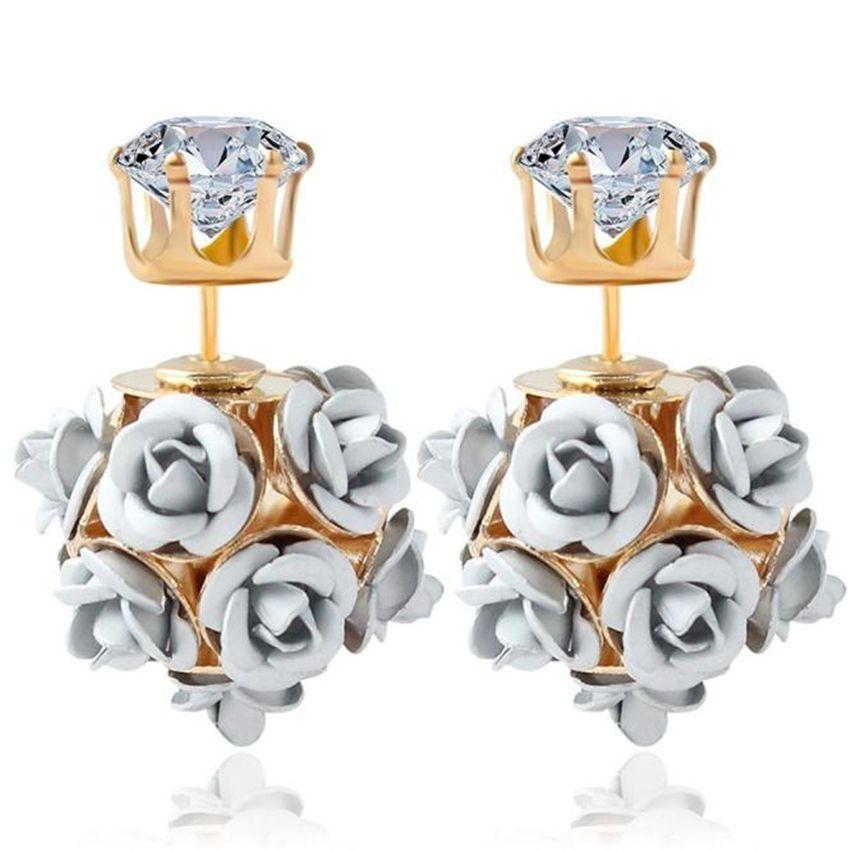 Neworldline New  Fashion Flower Rose Women Girls Crystal Stud Earrings Gift WH-White