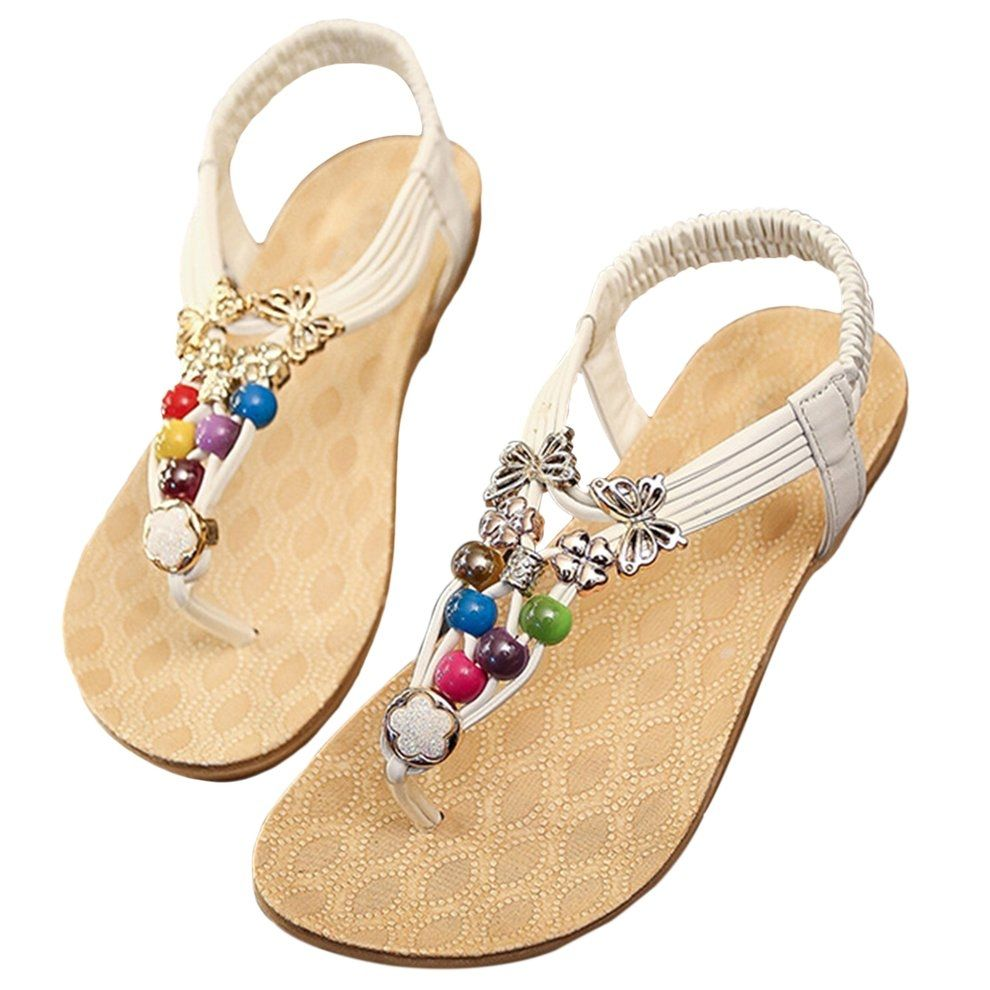 353dbd52e950f0 Kokobuy Summer Bohemia Sandals Toe Clip Beaded Shoes Women Rubber Flat  Ladies Shoes
