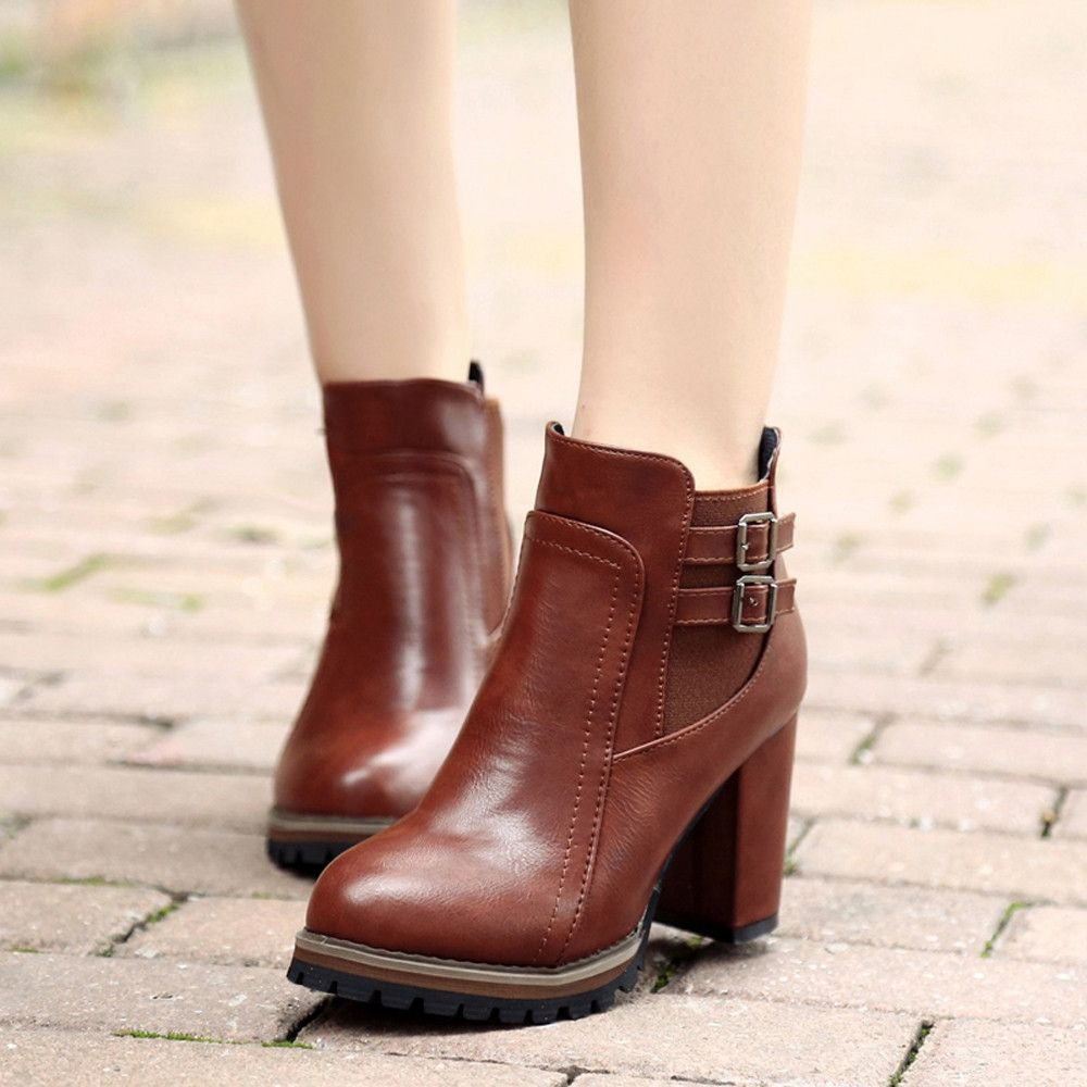 32edf8956fd84d Eissely Women Boot High Heels Ankle Boots Platform Shoes Women Shoes Autumn  Winter BW/35-Brown 35