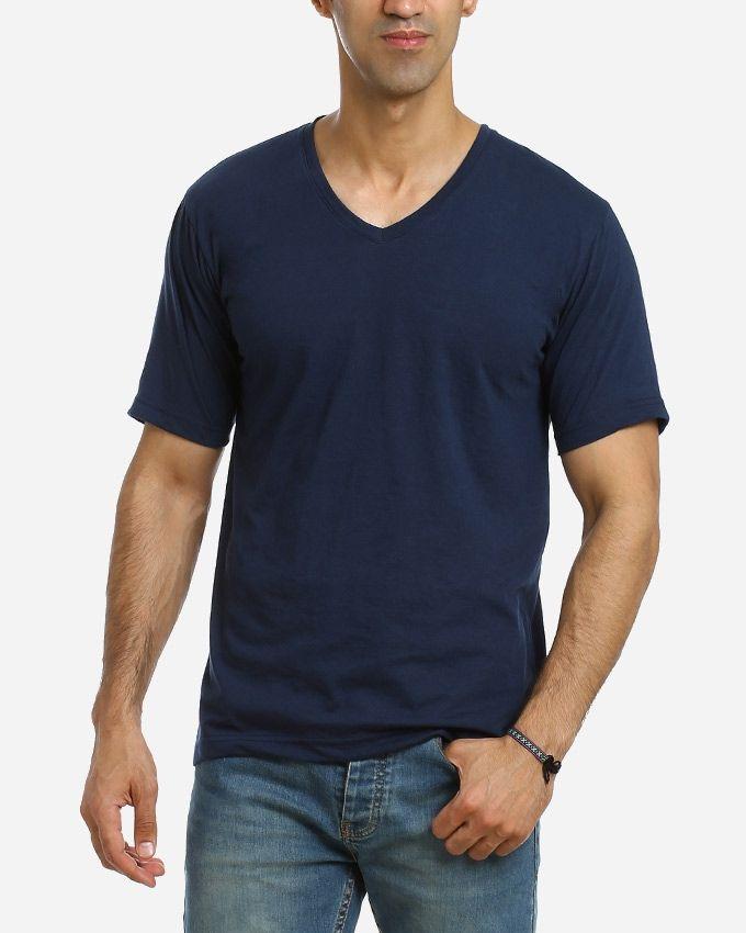 Andora Solid V-Neck T-Shirt - Navy