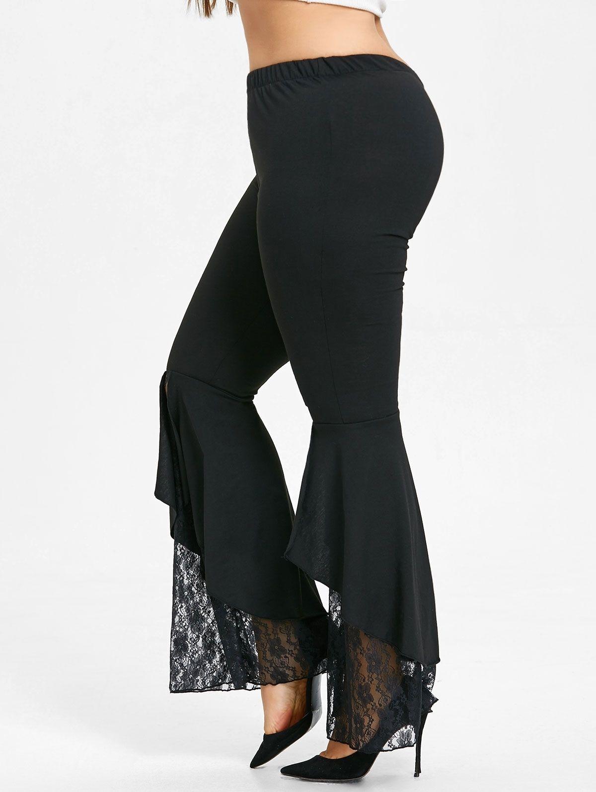 3824882bf4fbbc Nextmia Plus Size Lace Trim Flare Leggings - BLACK | Pants | kanbkam.com