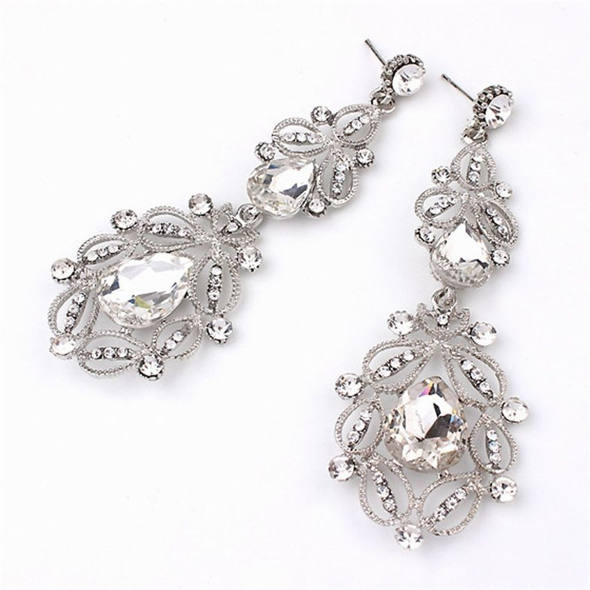 Neworldline Fashion Women Elegant Crystal Rhinestone Ear Stud Dangle Earrings CL-Clear