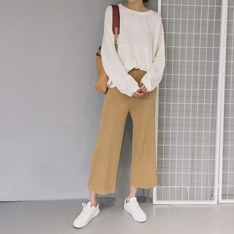 Fashion Women Loose Knit Ninth Leisure Straight Pants