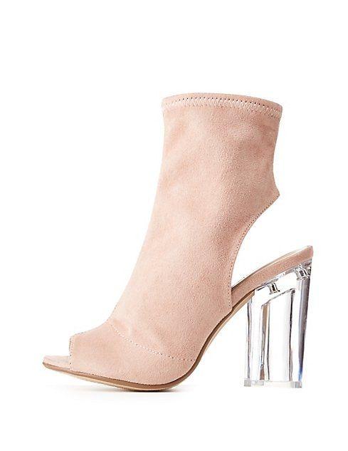 69b239f5f18 Charlotte Russe Peep Toe Clear Heel Booties