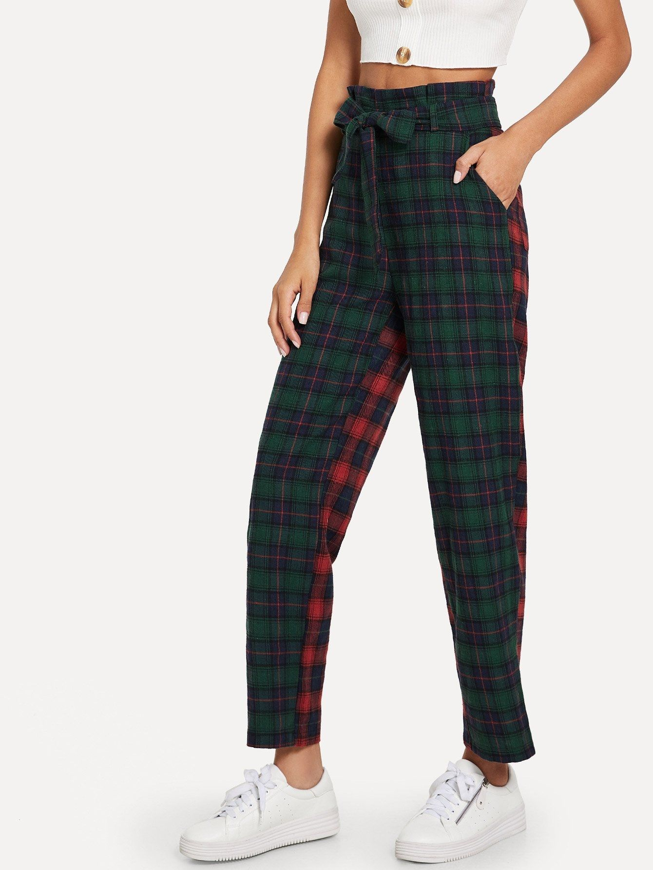 db361917ef35 SHEIN Plaid Self Tie Waist Pants Price in Egypt | Jumia | Pants ...