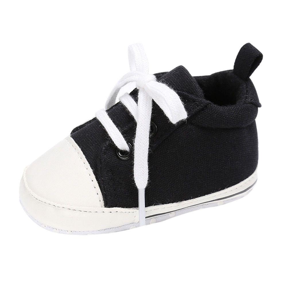 a18d7e23f9f3 Yiqu Baby Shoes Boy Girl Newborn Crib Soft Sole Shoe Sneakers-Black ...