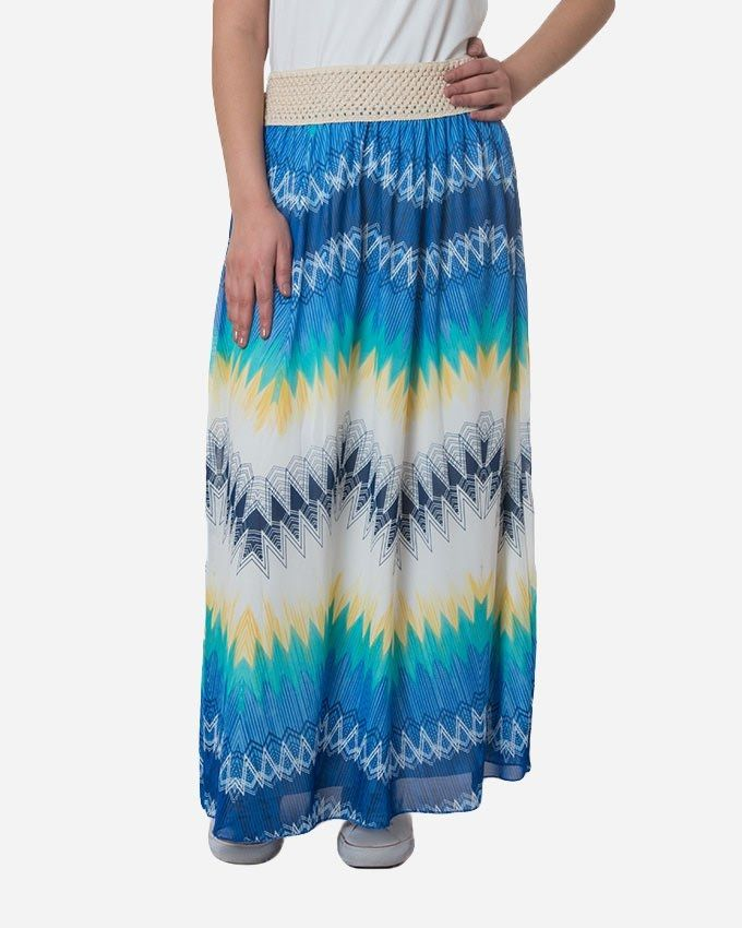 Andora Maxi Printed Skirt - Blue