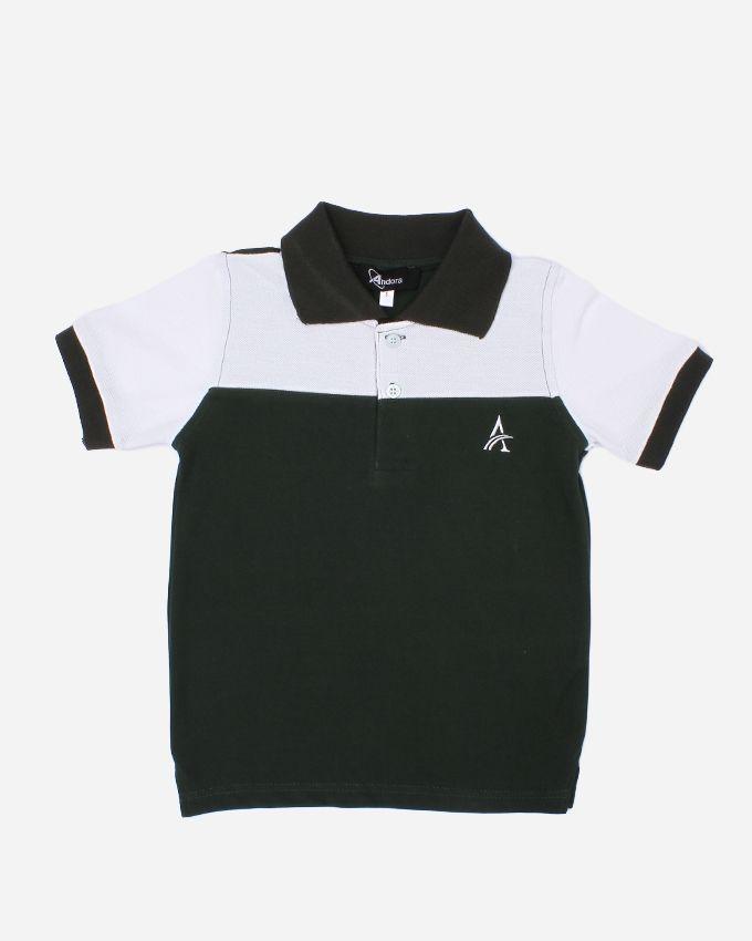 Andora Bi-Tone Polo shirt - White& Dark Green