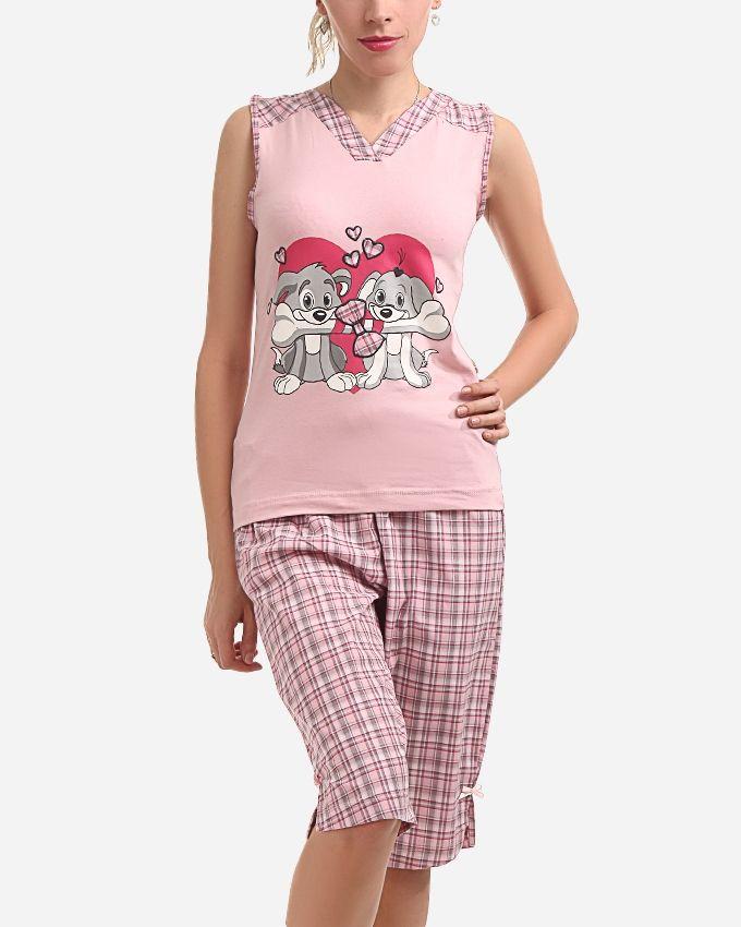 "Andora ""Puppy in Love"" Pajamas Pants - Rose"