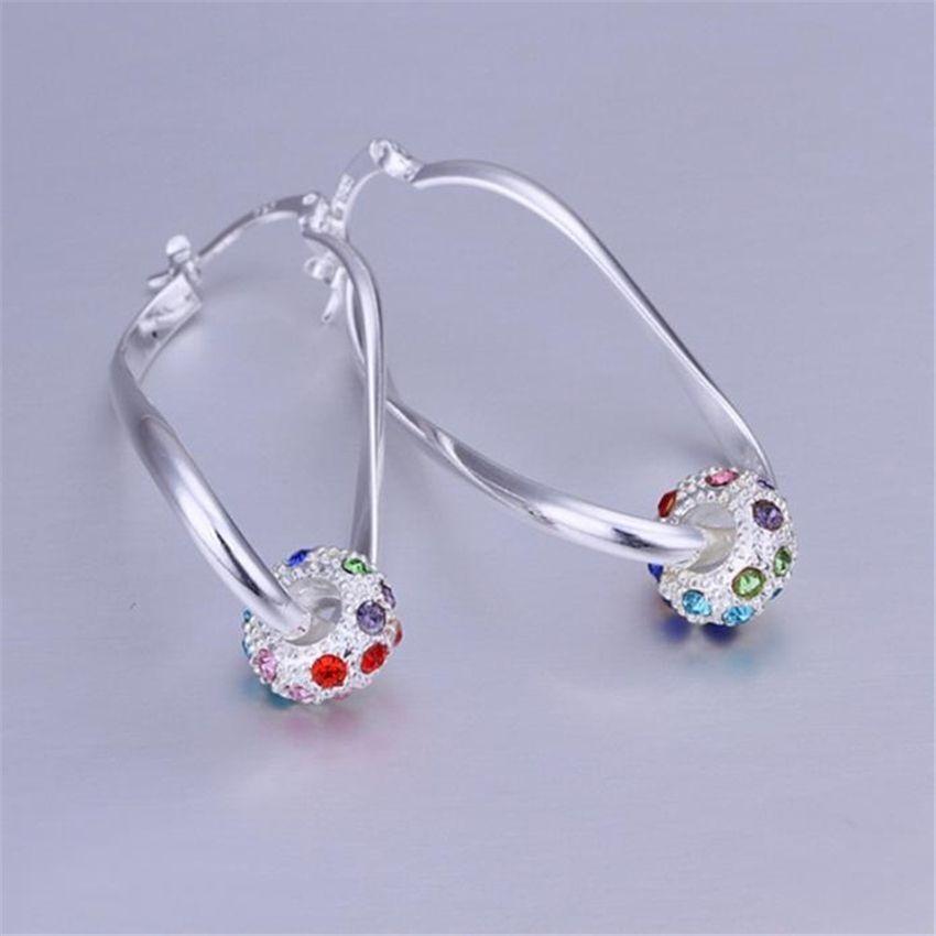 Neworldline Platinum Or Gold Plated Sterling Silver Earrings Cubic Zirconia Stud Earrings- Silver