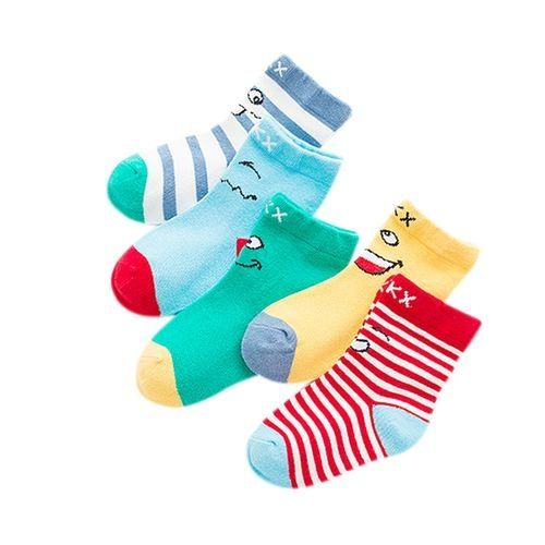 cbe445284ed3e Generic 5 Pairs Baby Children Cute Cartoon Breathable Sweat Absorbent  Cotton Socks Casual Anklet Socks Color expression Size 6-8 Years Old
