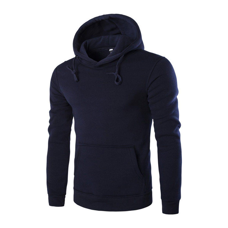 Generic Mens Long Sleeve Solid Casual Hoodie Irregular Hem Hole Top