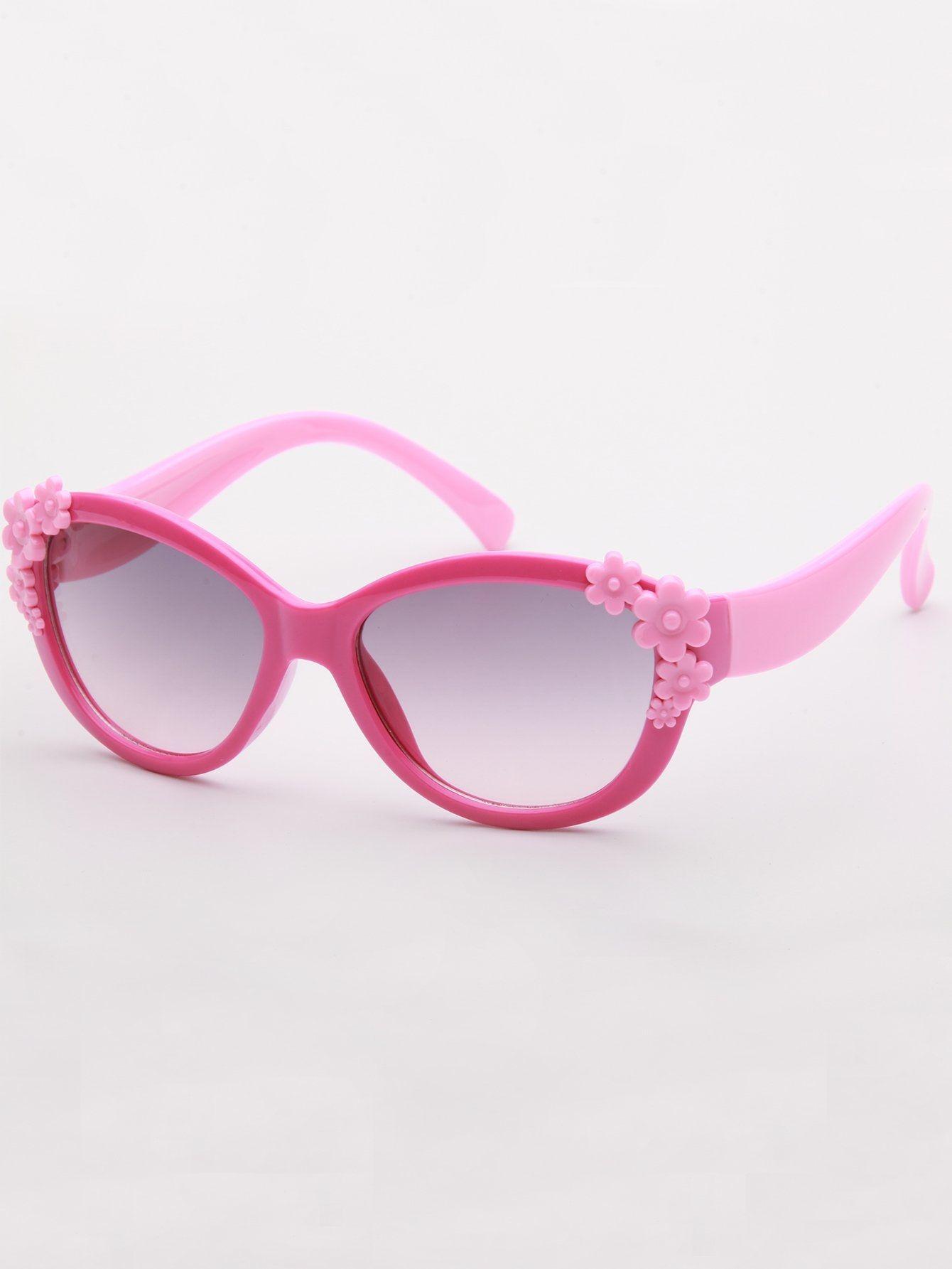8ce55b1cb8 SHEIN Girls Flower Decor Heart Shaped Sunglasses | Shoes Accessories ...