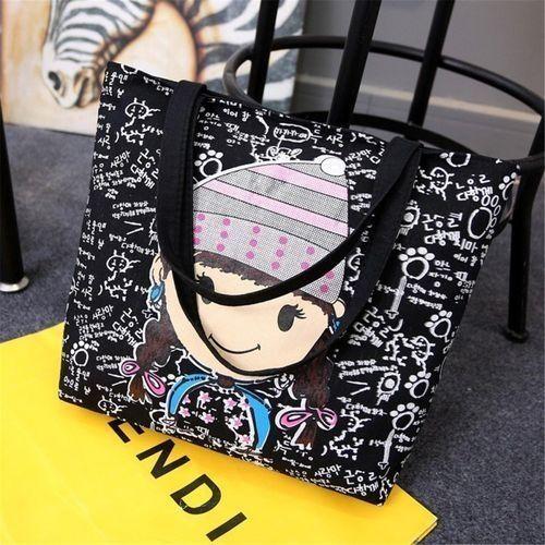 fa9ce41231fe Buy Universal Fashion Women Girls Cartoon Canvas Shoulder Bag Handbag  Shopping Tote Messenger in Egypt