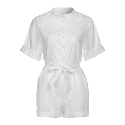 53e45be9e9a6 Buy Eissely Women Casual Beach Short Sleeve Playsuit Mini Jumpsuit Rompers  WH L- White