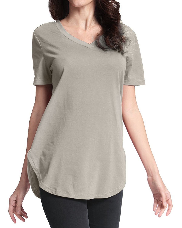 a841b778cd70 Fashion Plus Size Womens Summer Short Sleeve V-Neck Basic T-Shirt Irregular  Shirt Casual Blouse Tops (Grey)