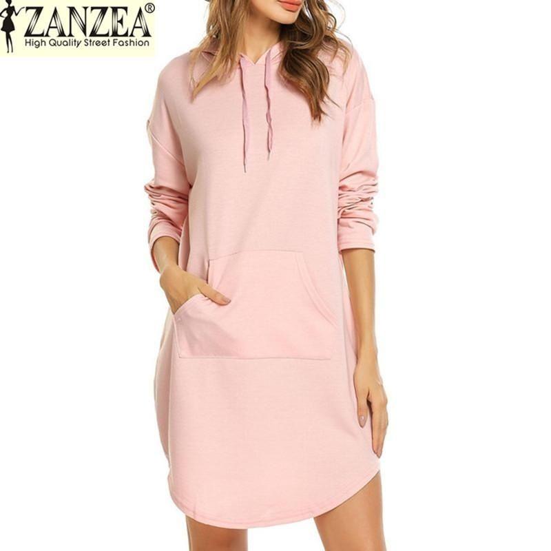 a938dd0929f ZANZEA ZANZEA Women Autumn Sweatshirt Hoodies Sport Long Sleeve Pullover  Sweatshirts Hoody Mini Dress Top (Pink)