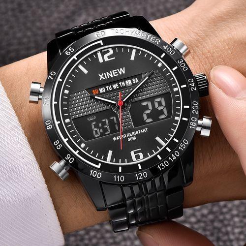 Xinew XINEW Africashop Watch Fashion Full Steel Men's Quartz Hour Clock Analog LED Watch Sports Military Wrist Watch-Black