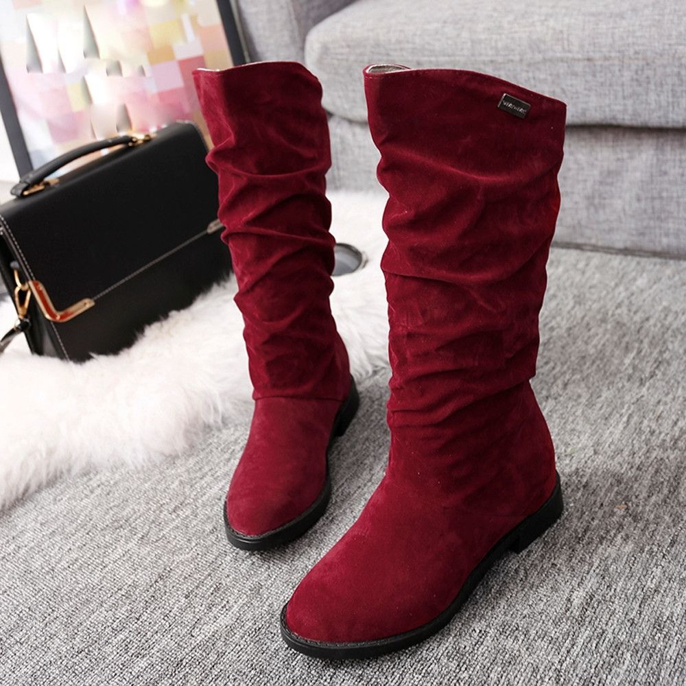 2230e1375d1 Eissely Autumn Winter Boots Women Sweet Boot Stylish Flat Flock Shoes Snow  Boots RD 35-Red