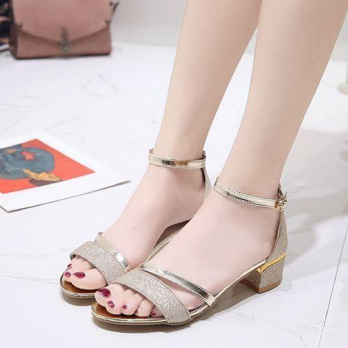 730dccc4a2d Fashion Blicool Shoes Fashion Women Sequins Sandals Ankle Mid Heel Block  Party Open Toe Shoes Gold