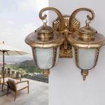 Retro Vintage Antique Bronze 2-light Exterior Wall Lantern Outdoor Lamp Fixture
