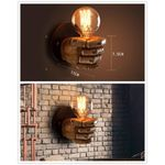 E27 Retro Style Fist Shape Wall Light Holder Resin Lamp For Dinning Hall Living Room Cafe Bar Decoration (Excluding Light Source)